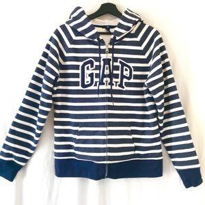 GAP NWOT Navy/White Striped Full Zip Sweatshirt